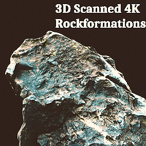 16 Photorealistic, hi quality 3D scanned rockformations, with Procedural Shaders.