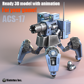 This robot can walk on it's four legs and drive on it's four rugged wheels as a combat vehicle. Mounted on top of the ACS-17 is a powerful turret that fires large caliber shells at a high rate of fire.