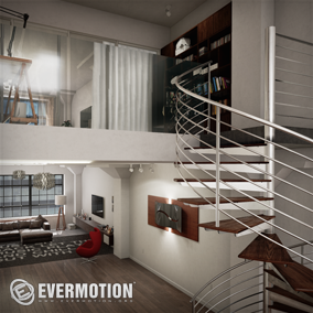 Hi-poly archviz scene of modern apartment.