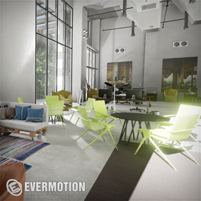 Hi-poly archviz scene of modern office.