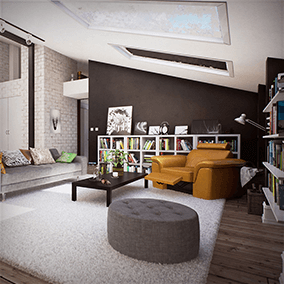 Interior scene of modern scandinavian apartment made exclusively for Unreal Engine