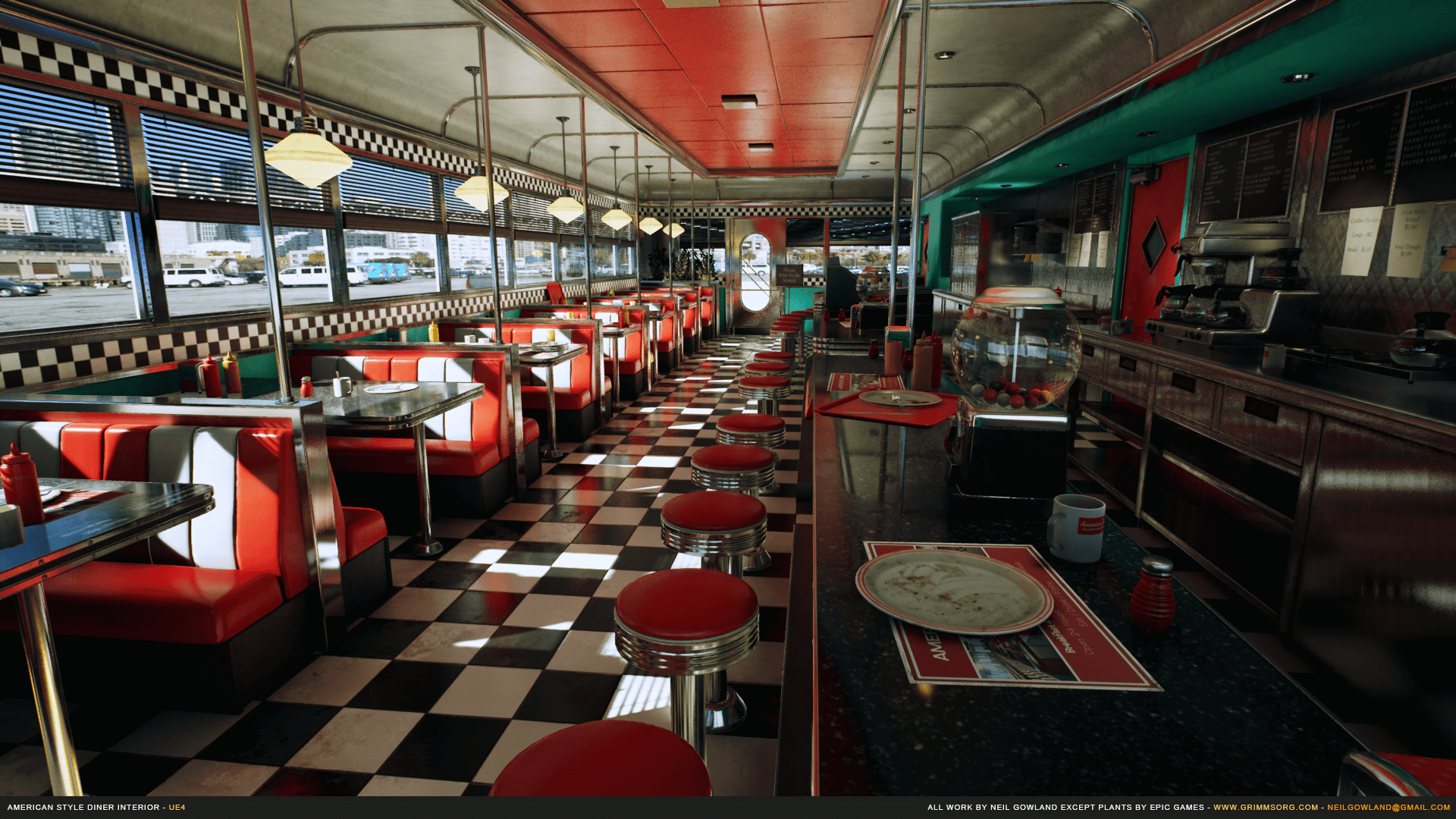 american style diner interior by grimmsorg studios in environments ue4 marketplace. Black Bedroom Furniture Sets. Home Design Ideas