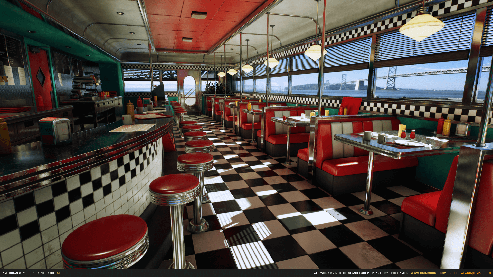 american style diner interior by grimmsorg studios in. Black Bedroom Furniture Sets. Home Design Ideas