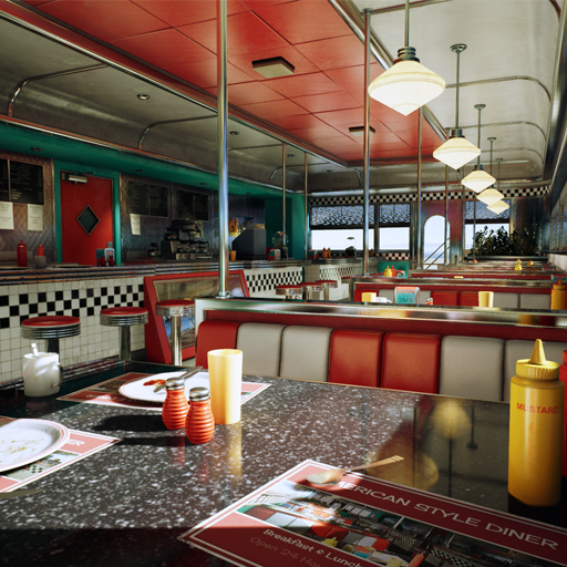 American Style Diner Interior With Afternoon Lighting, perfect for Games / Cutscenes / Movies / VR Apps.