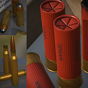 Here is an ultimate ammunition set. Include all common calibers. All ammo comes with full mesh or divided to bullet and cartridge. Each kind of ammo have a box (to make it pick able in game) You can also create you own paper box design! Simply make make t