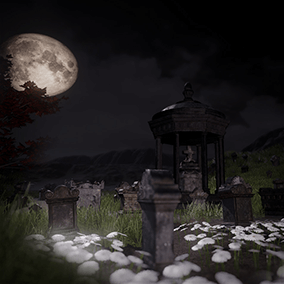 Asset pack of 8 gravestones, grass and autumn leaves.