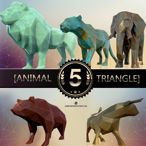This pack contains five low poly stylized statuettes of animals. Each statuettes is made of 6 materials: wood, gold, oxidized metal, blue gold, nephrite and concrete.