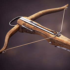 This pack includes a high-quality medieval crossbow with animations. Different texture versions are included (clean, bloody, with raindrops).