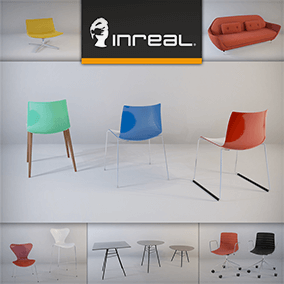 Asset pack containing two sets of designer furniture optimized for realtime rendering performance and visual quality
