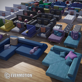 Collection of over 100 hi-poly couch models for Archviz.
