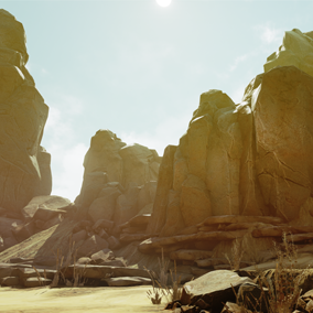 An Arid themed set of rocks, terrain, and vegetation.