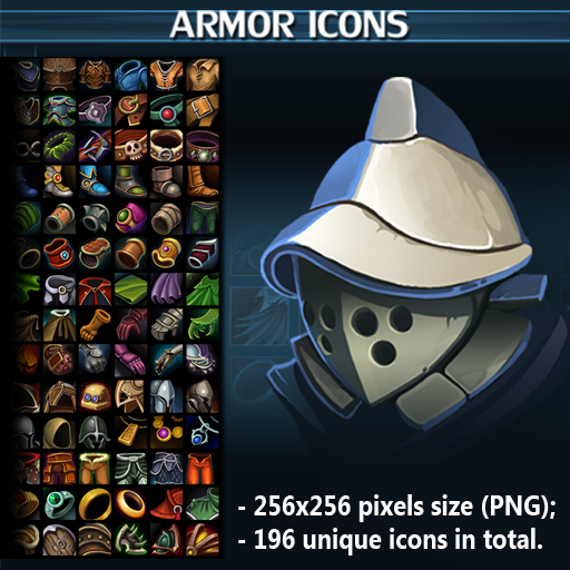 Set of 196 hand drawn armor icons.