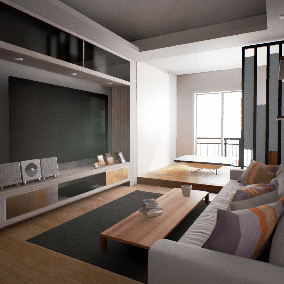 This is an architectural visualization projects of a modern apartment in Asia.