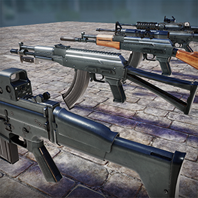 Assault rifle pack is a one stop shop for all parts needed to assemble high quality assault rifles. This has 5 types of weapons inspired by modern artillery, and 8 attachments that you can mix and match with any gun.