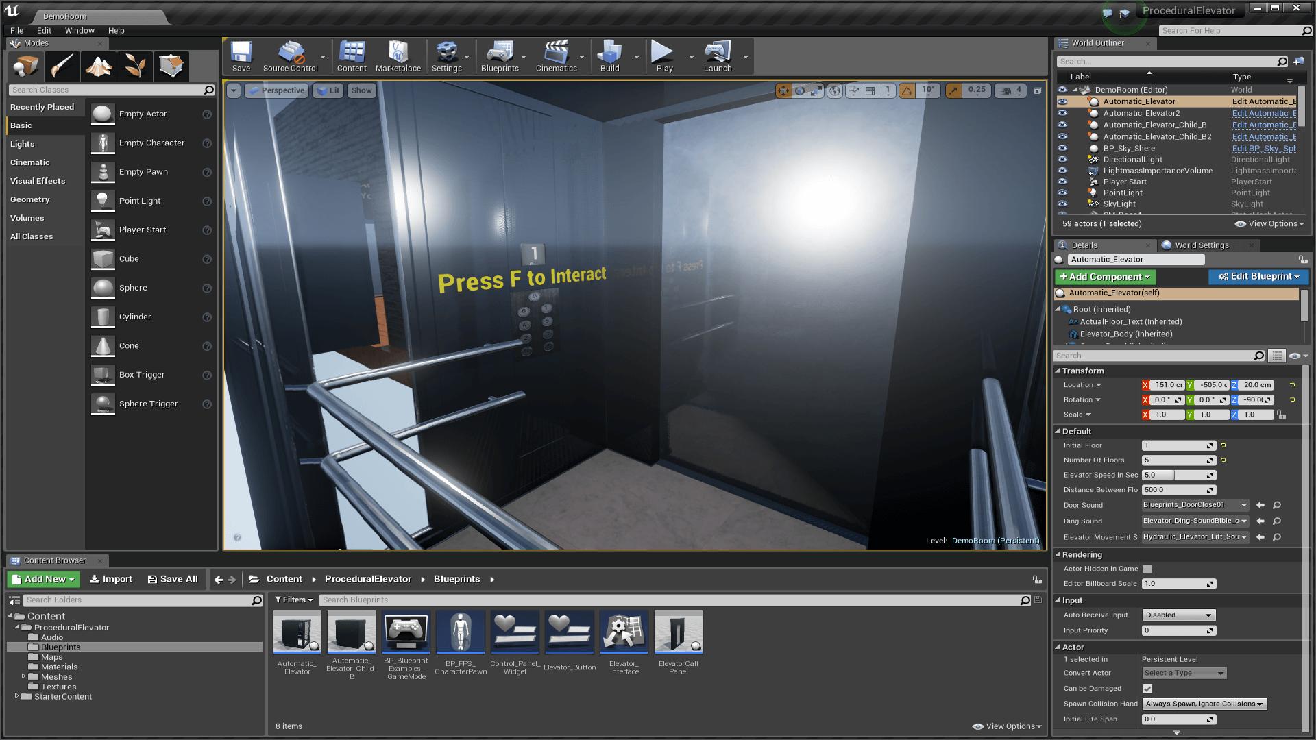 Procedural Elevator by Balázs Viktor in Blueprints - UE4 Marketplace