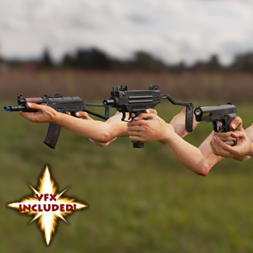 AAA Pistol, AR, and SMG pack. With VFX, 4K textures, 3 LODs & fully animated/rigged arms. $150 Value!