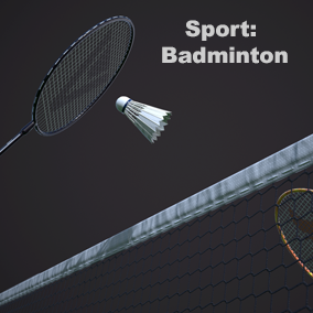 High quality badminton racquet, shuttlecock, badminton post net and badminton court floor.