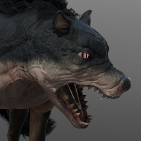 Here is Barghest, a monstrous giant dog wandering around the cemeteries and battlefields. This creature can deal extreme damages with its powerful jaws full of sharp teeth.