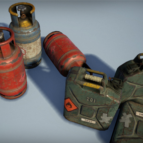 Set of barrels and cans ready to use in your projects. Made with a photo realistic style.
