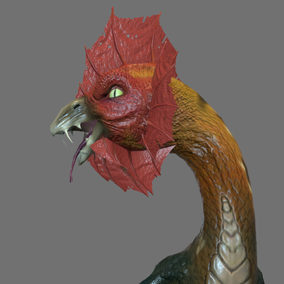 Here is the basilisk, creature of the Greek mythology. This hybrid between a rooster and a snake can inject a powerful venom when biting, but this is not its most dangerous weapon. Anyone looking at it straight in the eyes can get petrified like a statue.