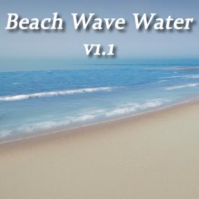 Water shader with crashing waves around islands and underwater caustics