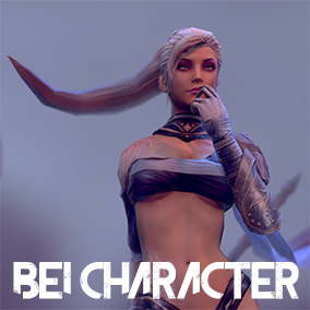 Lowpoly Spear Female . PBR Texture. Over 30 animation