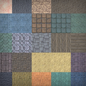 Over 40 hand painted textures, all are 512px by 512px and tileable.