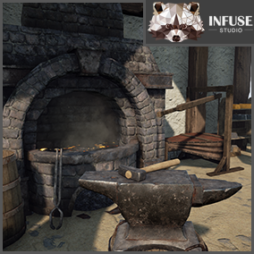 Medieval Blacksmith Forge featuring tools (hammers, chisel, tongs), furnace, bellows, metal ingots (iron, steel, gold, silver, dwarf, etc), workbench, shelves, coal, barrel, sign, anvil. Works with Infuse Studio Castle Fortress and Apothecary and Alchemy.