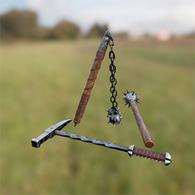 Medieval Bludgeoning Weapons with 4K textures, 3 LODs, & free fully animated / rigged arms. Save 25%!