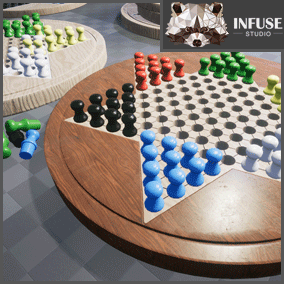 Infuse Studio Board Games Vol 2, Chinese Checkers, also known as Halma. Pack includes boards, marbles, and pegs. PBR materials.
