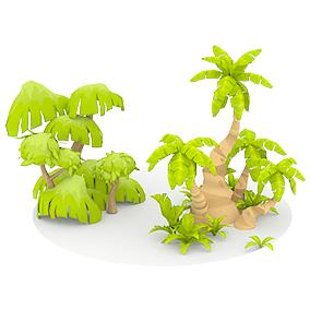 Low Poly Cartoon Oasis Plants
