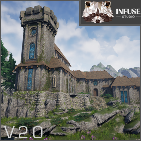 Large realistic medieval  environment pack featuring modular castle and fortress assets. Structure interiors and exteriors. PBR Materials. Trees, rocks, walls, towers, windows, statue. Works with Infuse Studio Apothecary and Alchemy and Blacksmith Forge.