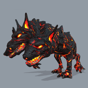 Here is the Hell's gate guardian: Cerberus. This mythological 3 headed dog will stop any hero trying to get his way to he Hades' kingdom.