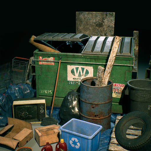 A large collection of trash, waste, and street refuse. This project includes a set of meshes and simple material setup. Each asset was created for the Unreal Engine at realistic AAA quality visuals, style, and budget.