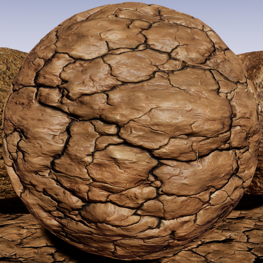 PBR material with high resolution (2048x2048): 40 cracked soil.