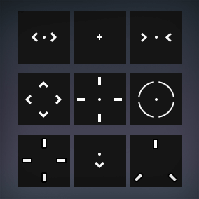 The 100+ Crosshairs Pack contains over 100 crosshair textures ready to be used inside the Unreal Engine.
