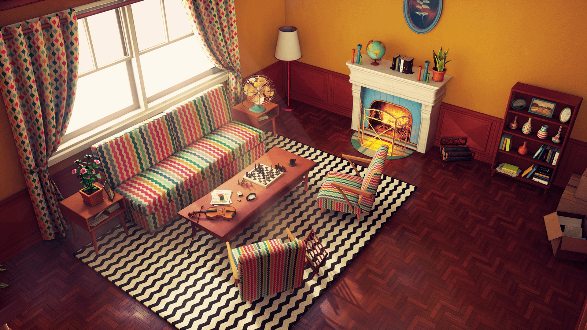 customizable retro living room by nguyen cong thai in environments
