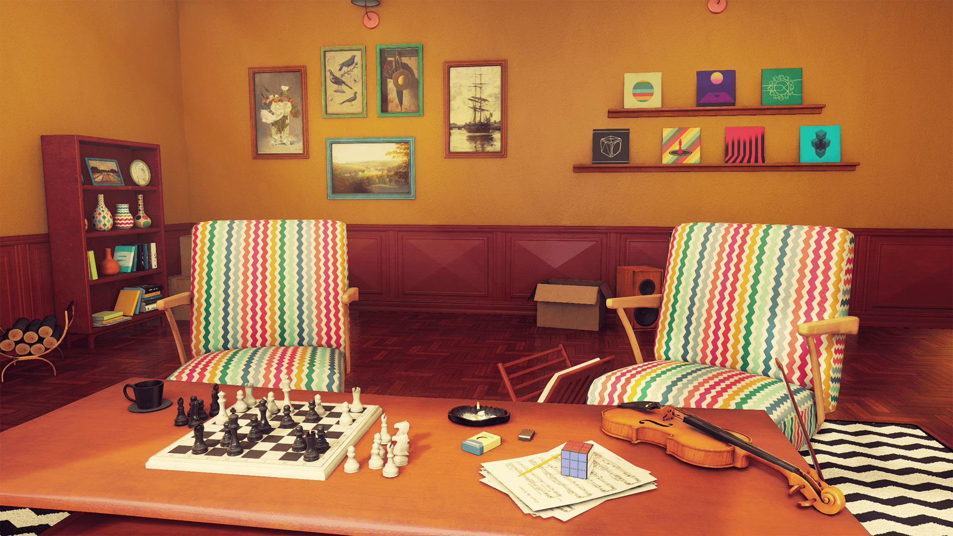 retro living room. Share Customizable Retro Living Room by Nguyen Cong Thai in Environments
