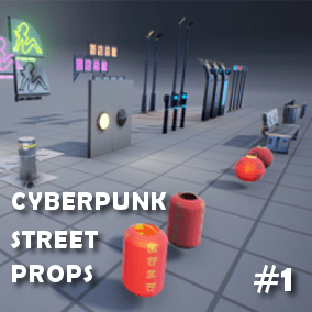 High quality street props package ideal to complement cyberpunk/futuristic themed scenes.