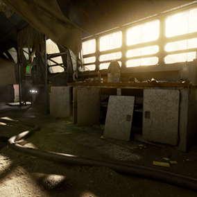 A derelict workshop (interior) in a style that's a mix of retro and futuristic. This project includes over 100 textured models, as well as materials and Blueprints.