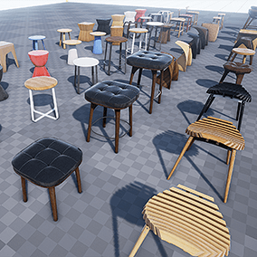 This is a collection of stools modern design of 21 different styles for architectural visualization.