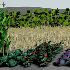 Farmer is a set of tools for creating agriculture crop scenes. Construction blueprints and meshes used for creating vineyards, grain fields and gardens.