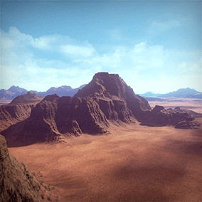 Dry Landscape is a 4x4 Kilometers landscape, taking you right into the middle of a hot red environment!