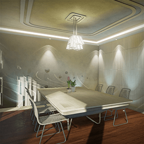 Interior scene of a semi-future style duplex house with professional and detailed modeling, texturing, materials, and lighting.