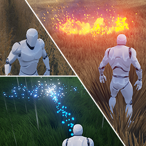 Easily add dynamic behavior to any grass mesh. Use it with UE foliage tool or spawn it dynamically in game. Shockwaves, deforming, burning + fire propagation, cutting, growing, ground blending and more effects included by default.