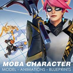 This bundle includes a MOBA-style female character model, complete with a custom and retargetable animation set, attack VFX, and colorisable materials. A game example is provided with functioning controls, enemies, and a character select screen.