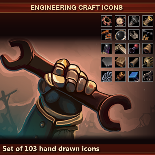 A set of 103 hand drawn engineering craft icons.