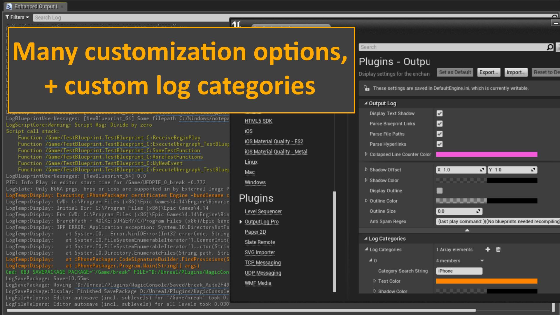 Enhanced Output Log by Cultrarius in Code Plugins - UE4