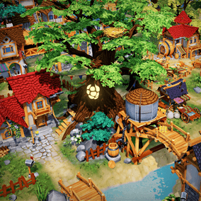 Large collection of handpainted props, buildings and vegetation. Suitable for top down levels.