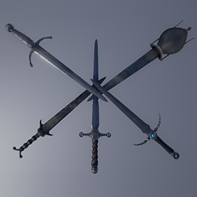 5 Fantasy War Daggers for your first or third person RPG's or FPS Games and Levels.